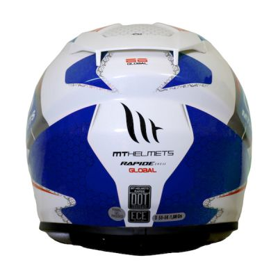 MT Rapide Global Full Face Helmet - White Blue Red