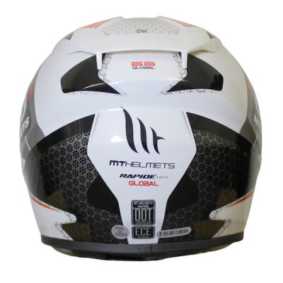 MT Rapide Global Full Face Helmet - White Red Grey