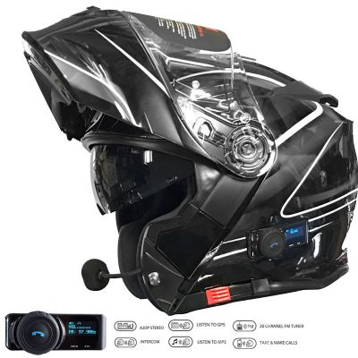 VCAN V271 Blinc Bluetooth Flip Front Motorcycle Helmet - Lightning Black - Flipped Side