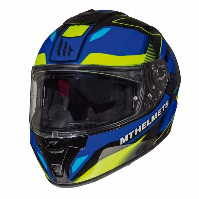 MT Blade 2 SV Fugue Full Face Helmet - Blue Fluo Yellow