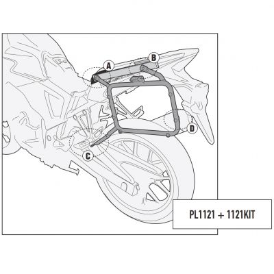 Givi PL1121 Monokey Motorcycle Pannier Rails - Honda CB500X - With 1121KIT (sold separately)