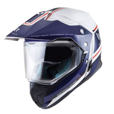 MT Synchrony DS Dual Sport Motorcycle Helmet - Vintage White / Blue / Red