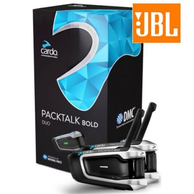 Cardo Packtalk Bold Bluetooth Intercom with JBL Speakers - Duo