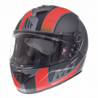 MT Rapide Overtake Full Face Helmet - Matt Black Red