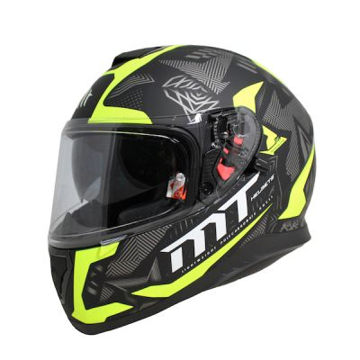 MT Thunder 3 Fractal Full Face Helmet - Black Grey Fluo Yellow