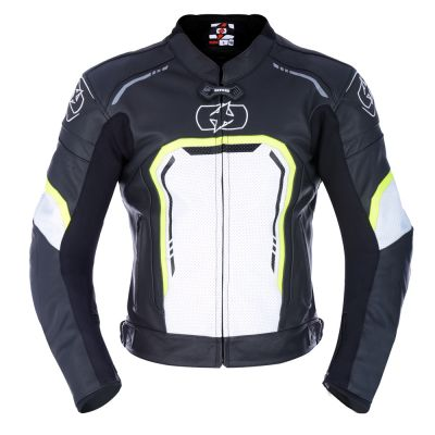 Oxford Strada Mens Leather Sports Jacket - Black White Fluo