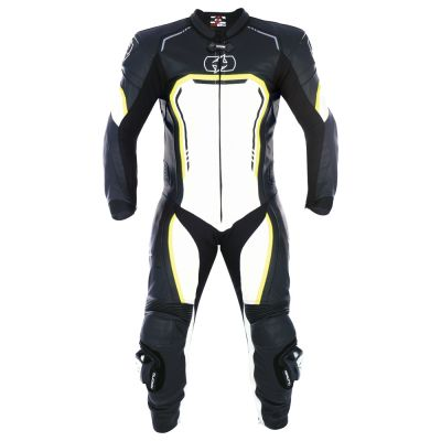 Oxford Stradale Mens 1 Piece Leather Suit - Black White Fluo