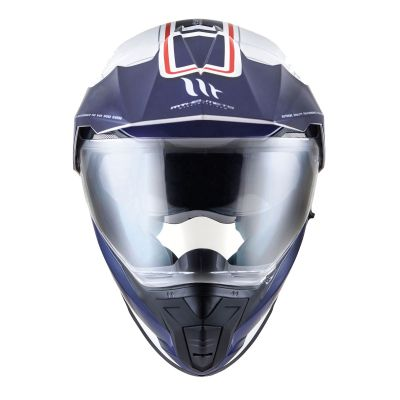 MT Synchrony DS Dual Sport Motorcycle Helmet - Vintage White / Blue / Red - Front